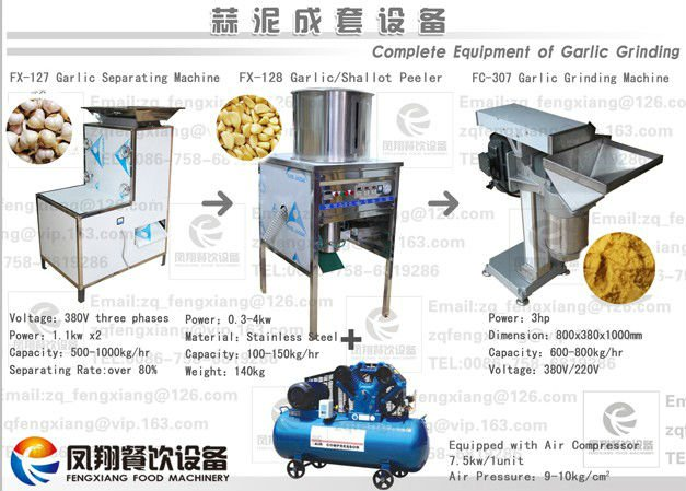 Stainless steel automatic Garlic breaking peeling grinding production line
