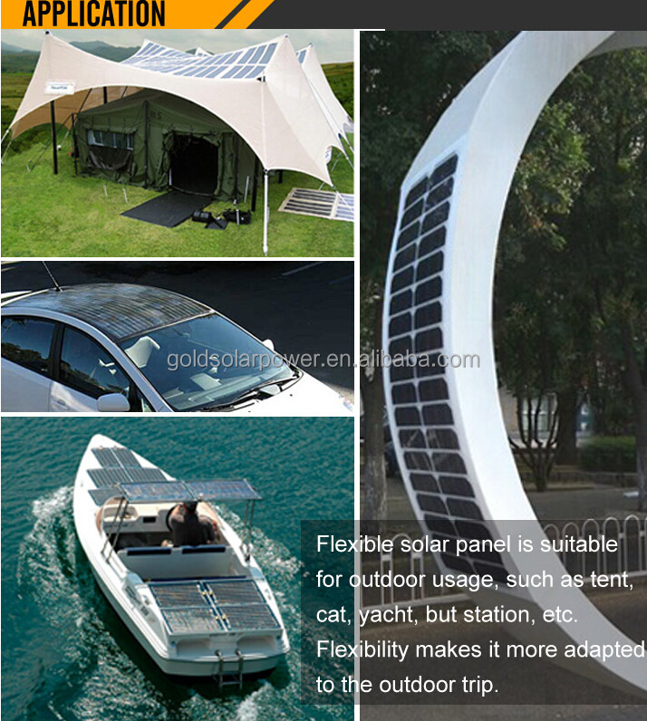 hottest 18V 120W sunpower semi flexible solar panel with standard MC4 connector to charge for big battery for boat/yacht/car