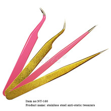 Anti-Static Stainless Steel Tweezers gold pink Nail Tweezers For Eyelash Extension