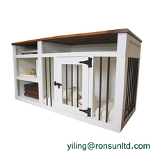 Solid Wood with Shelves TV Stand Table Dog Crate Kennel Furniture