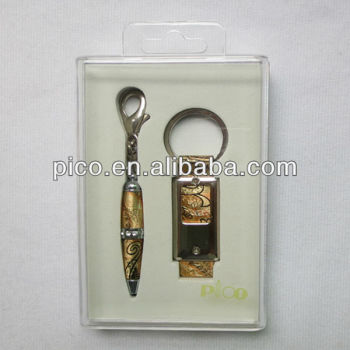 Ball Pen And Key Chain Packed In A Transparent Gift Box Nice Choice For Gift
