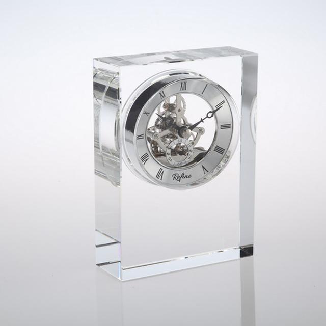 Handcut Transparent Square Shape Crystal Clock & Wedding Gift