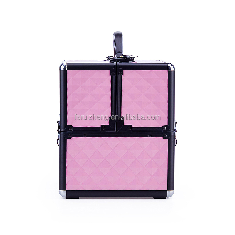 Portable Pink Argyle Large Capacity Aluminum Artist Makeup Beauty Case