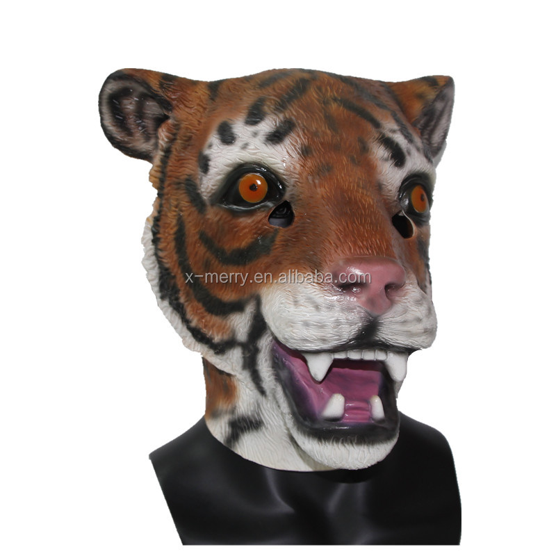 X-MERRY Toy Latex Realistic Tiger Mask Halloween Fun Rubber Animal Face Mask