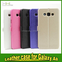 2015 Silk Pattern leather double window Flip Case For Samsung Galaxy A7