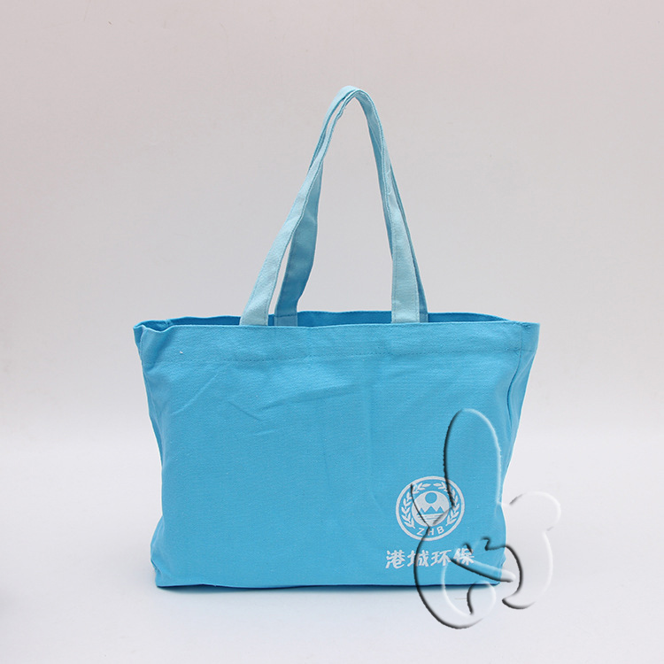 eco-friendly sky blue canvas cotton promotional bags for school, shopping, traveling