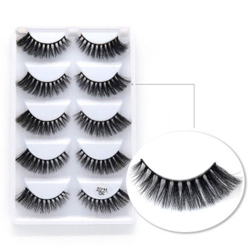5 pairs Luxurious 3D False Eye lashes Cross Natural Long Similar to Mink strip Lashes silk synthetic eyelashes <strong>H02</strong>