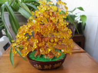 crystal wedding trees wholesalers decoration pieces crystal yellow tree made in China