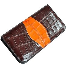 Luxury Crocodile Leather Wallet for Men Clutch Bag Purse With Wrist Strap