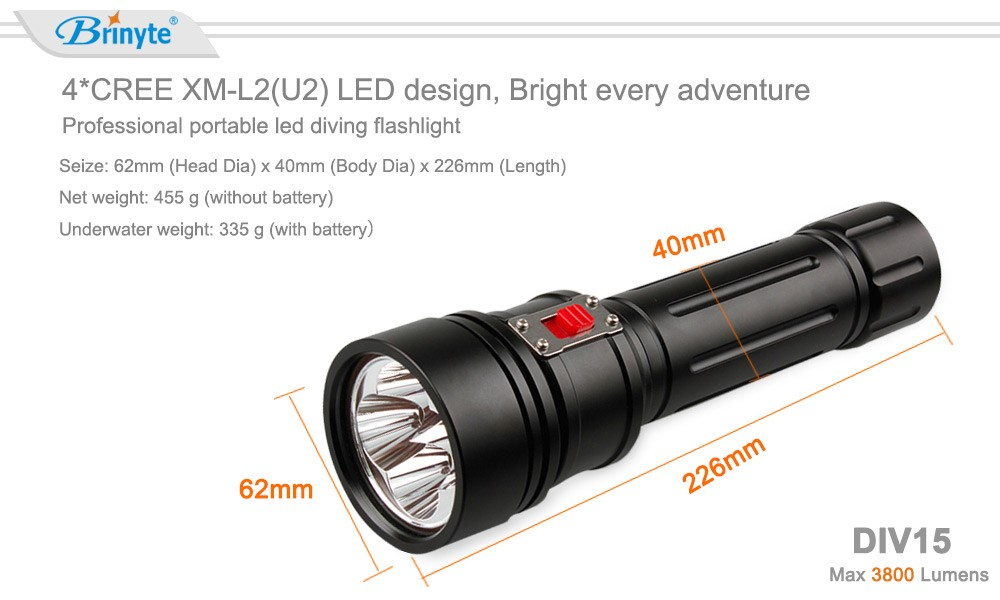 High power led rechargeable diving torch underwater 200m scuba light