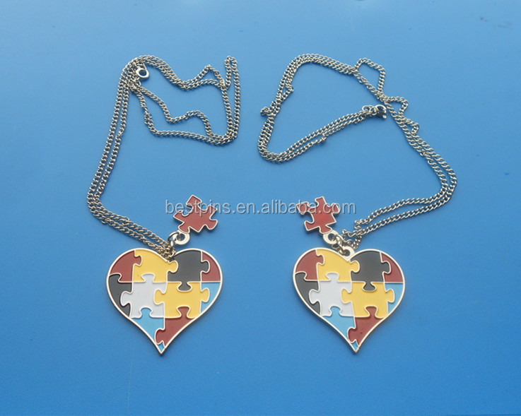 autism ribbon awareness dog tags necklace with heart/puzzle shaped danglers charms in metal