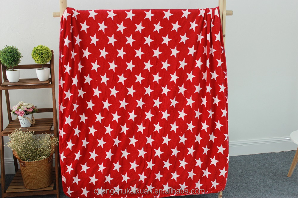 High Quality Red Star Printed Coral Fleece Blanket