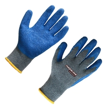 Blue construction rubber safety gloves