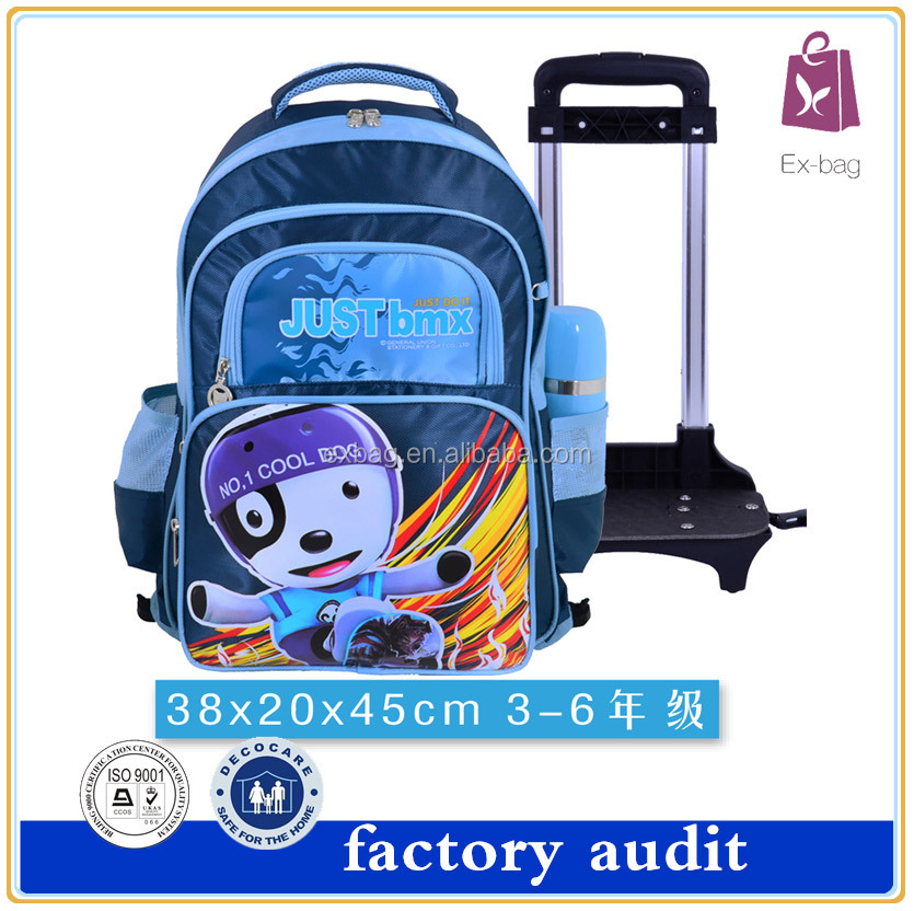 Fashion waterproof nylon four pocket trolley student school backpack bookbag for kids students