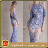 PAOLO21 Purple Sheer Transparent Sexy Lady Gowns Beaded Long Sleeve Open Back Alibaba Fashion Dress