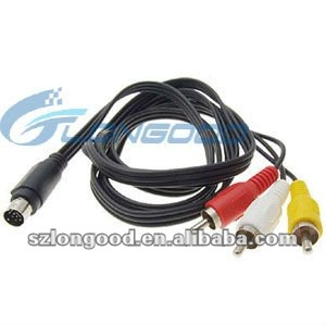 7-pin S-VIDEO SVIDEO SVHS Plug to 3 RCA TV Cable 5FT