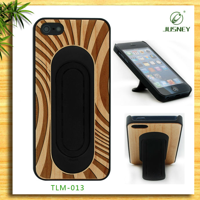 cheap animal shaped stand wood case for iphone 4 / 5 with zebra design