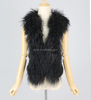 QC3015 real mongolian lamb sheep fur collar vests with rabbit fur back