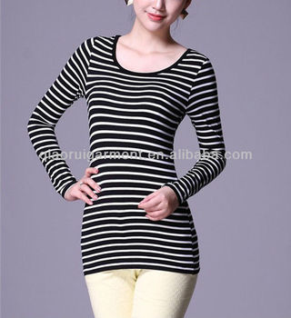 Fashion breathable long sleeve black-white striped T-shirt for girls/ladies QR-2086