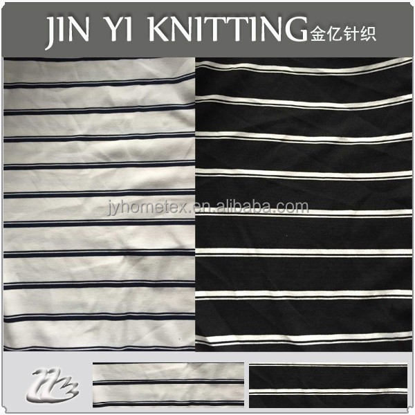 Yarn Dyed Black/White Stripe Stretch Polyester Ponte De Roma Fabric For Garment