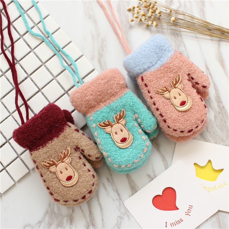 Chrismas Beer Gloves Knitted Full Finger Gloves Kids Soft Gloves
