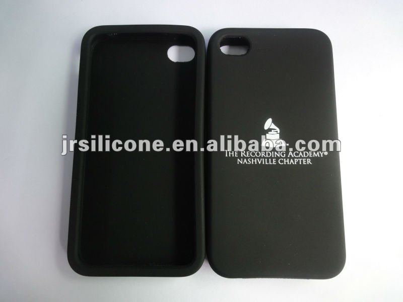 Custom hot logo printed silicone silk-screen phone case for iphone4 4s