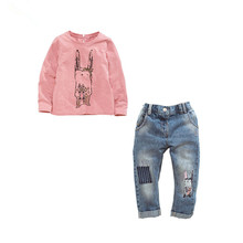 2017 Children boutique clothing long sleeve t-shirts jeans 2pcs kids costume sets fashion little baby girls fall clothing