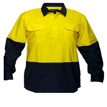 yellow navy blue collar long sleeve reflective work shirt wholesale