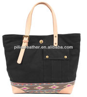 2014 stylish leather trim canvas tote bag with dirty printing canvas handbag