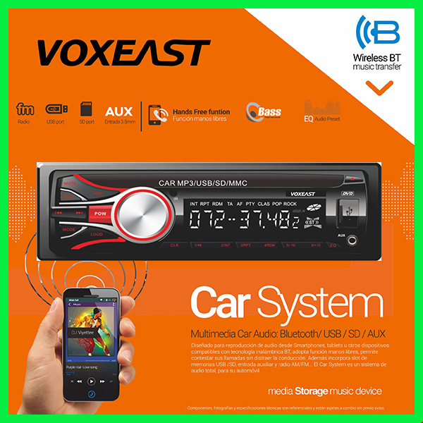 Detachable panel car headunit car radio USB SD mp3 Aux in player with bluetooth handsfree 4X45W output power FM receiver