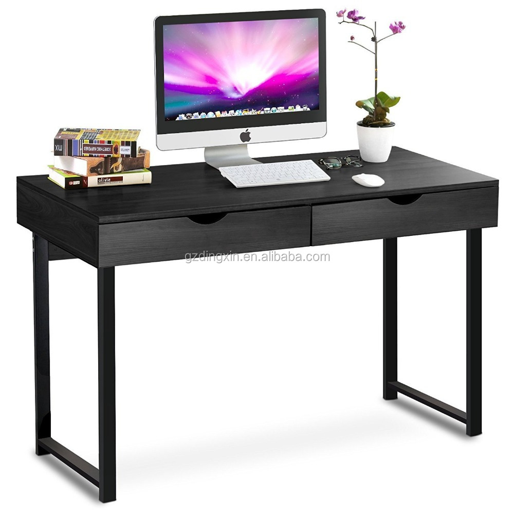 "Dingxin Computer Desk Modern Stylish 47"" Home Office Study Table Writing Desk Workstation with 2 Drawers, Black"
