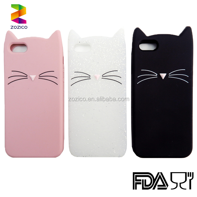 Cute Design Cartoon Cat Silicone Phone Case For Iphone 6/6 plus/7/7 plus