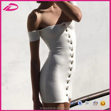 Summer elegant off-shoulder front Button dress, sexy bodycon mini dress