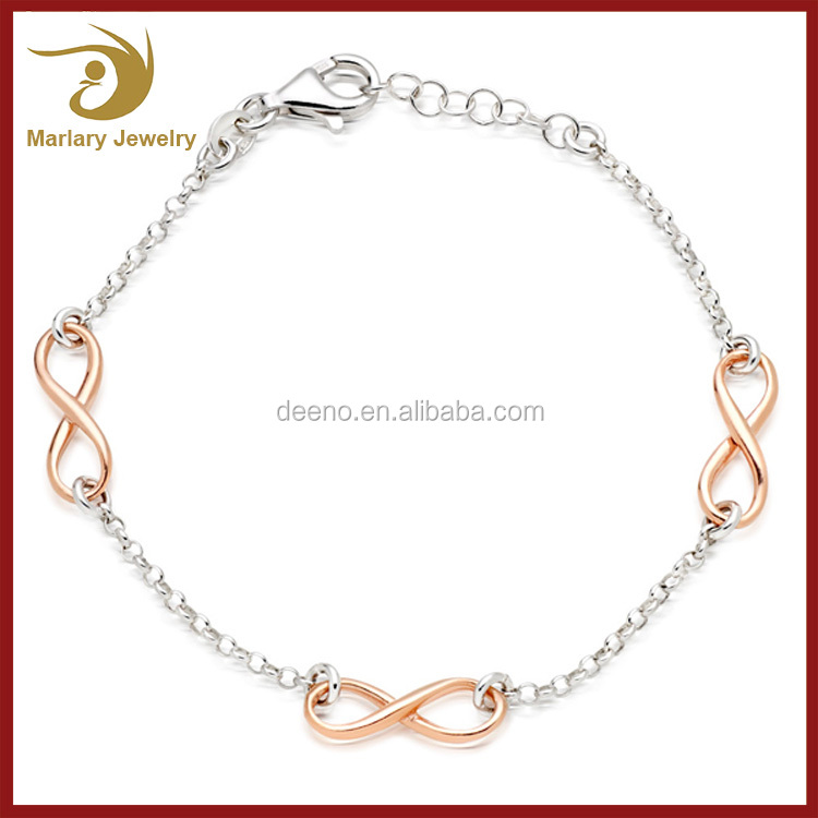 Latest Designs Fashion Tiny Exquisite Rose Gold Plated Bracelet Personalized Infinity Bracelet Wholesale