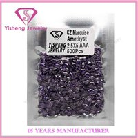 Top Quality Man-made Amethyst Marquise Cut CZ Stones Gems