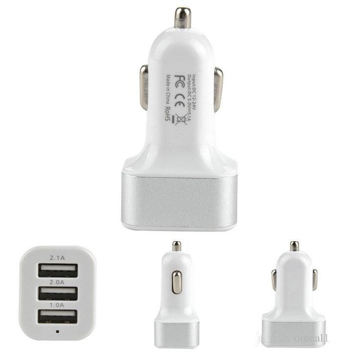 DHL free Car Charger ,3-port Rapid USB Car battery Chargers Cigarette Charger Adapter for Apple Iphone 6/7/6s/5/5s/5c