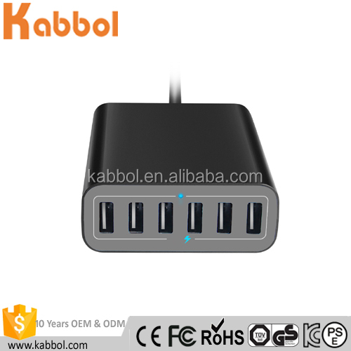 Latest 60W 6 Port 12A Tablet Smartphone Charging Station for iPhone, iPad, Samsung, HTC, Motorola, LG, Xiaomi, Huawei P9 Black