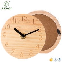 2017 new customer logo OEM gift nature oak bamboo wooden alarm clock wood wall clock table clock living good