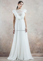Cheap a line v back chiffon Angle feather shoulder sleeveless wedding dress feather bridal gowns