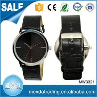 Fashion couple simple dial design cheap print oem black leather watch