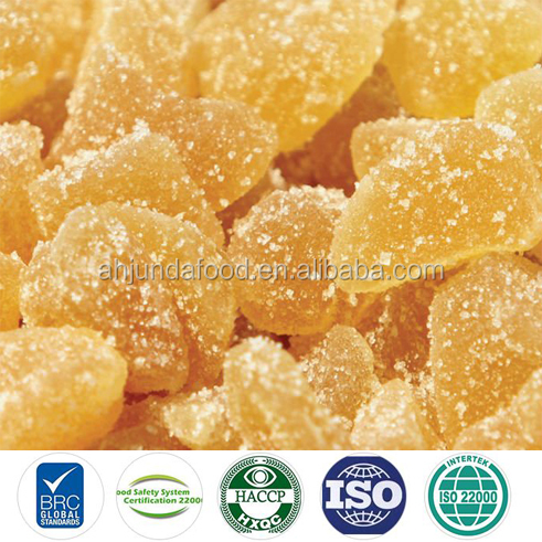Crystallized sugar ginger chunks/sticks dried ginger sliced with sugar