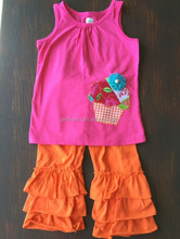 India wholesale clothing fashion children's clothing wear girls ruffle outfit damask baby clothing