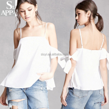 Self-tie open-shoulder top for women ladies fashion blank top China manufacturer clothing summer sexy blouse Custom apparel