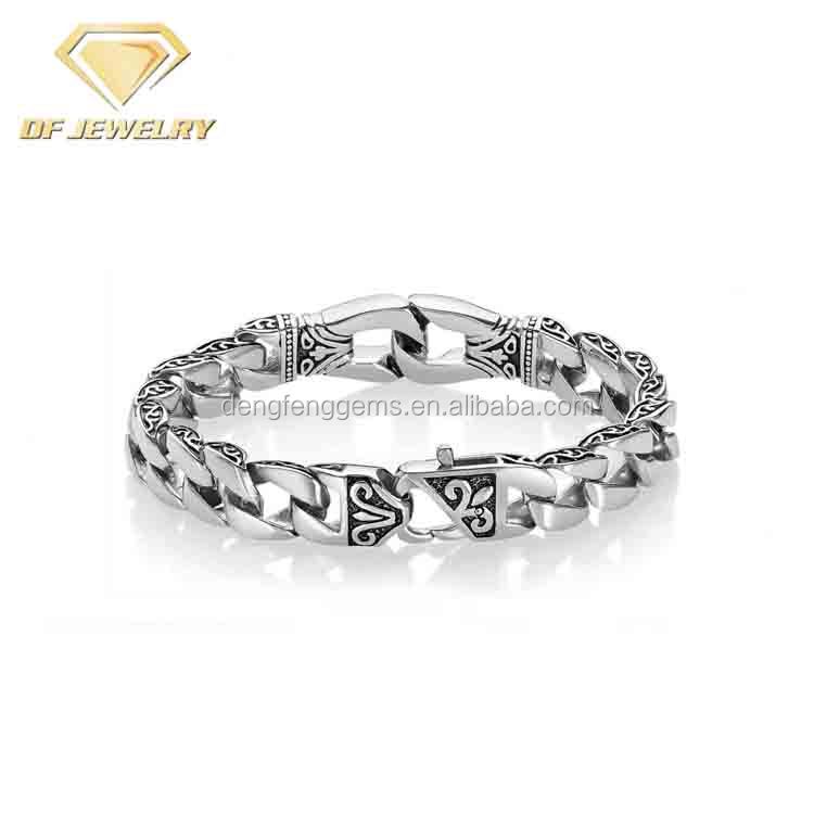 Silver Polished Men's Fashion Design Chain Bracelet Bangles For Men