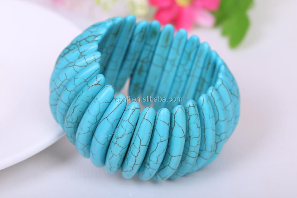 Beautiful stretch Turquoise Jewelry Turquoise Bangle Bracelet women natural stone summer Bracelet