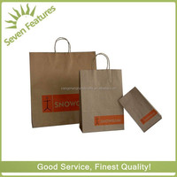 Recycled cheap brown kraft paper handle bag for food