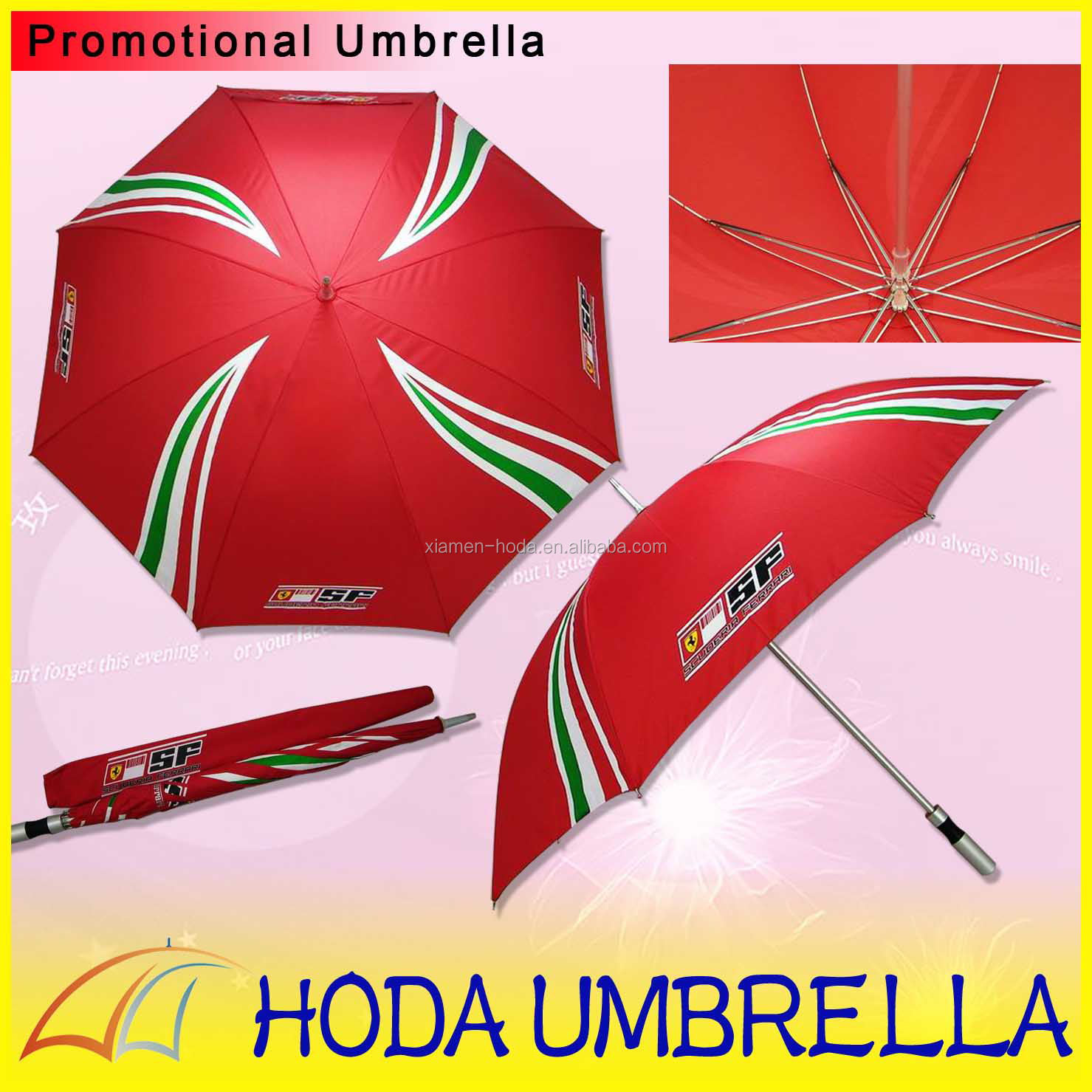 2014 Cheap silver handle advertising branded red golf umbrella for promotion