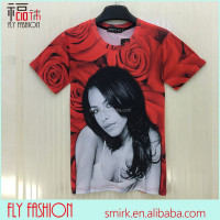 DK097# new fashion men/women's Sexy rihanna t shirt red rose flowers t-shirts harajuku 3d tshirts XXL top clothes