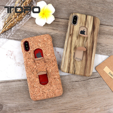 Classical Wooden Pattern U stand holder Leather PU Mobile Phone Case for iPhone X 8 7 6 plus