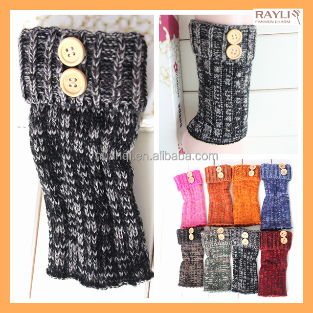 Brand New Fashion black color women Winter cable knit melange yarn boot cuffs toppers with buttons